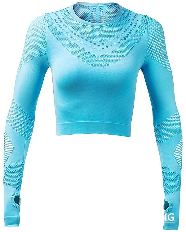 Lake Blue Seamless Long Sleeve Crop Top picture-01