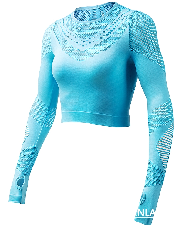 Lake Blue Seamless Long Sleeve Crop Top picture-02