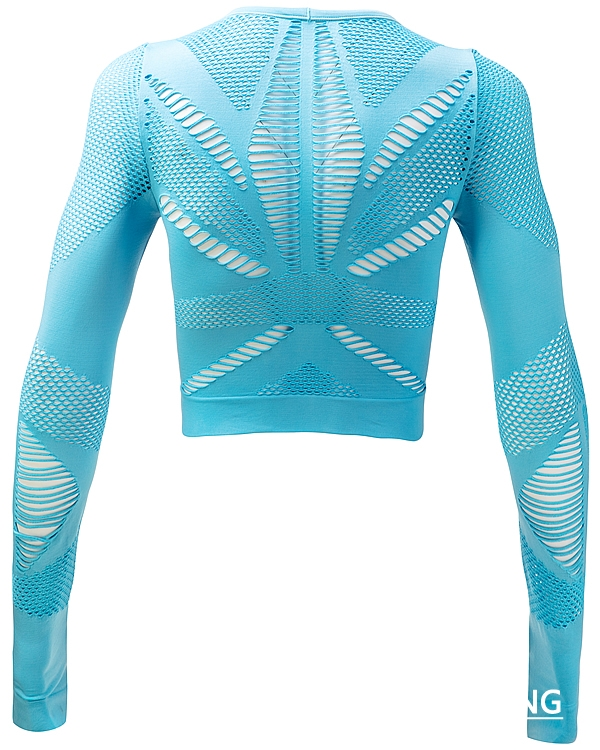 Lake Blue Seamless Long Sleeve Crop Top picture-03