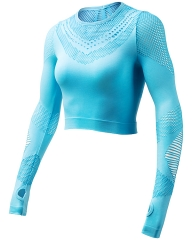 Lake Blue Seamless Long Sleeve Crop Top